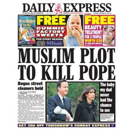 sensational headlines - Muslim plot to kill pope