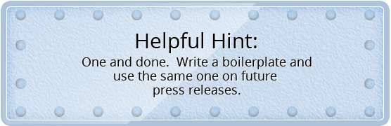 Use the same boilerplate on future press releases